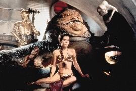 Carrie Fisher trifft auf die Mega-Kröte Jabba The Hut