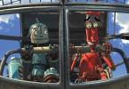 Die beiden Freunde, Rodney (li.) und Fender (re.) begeben sich zusammen auf die abenteuerliche Suche nach Rodneys großem Vorbild, dem Überroboter Bigweld.