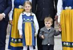 Prinzessin Estelle und ihr Bruder Prinz Oscar beim großen Auftritt anlässlich des schwedischen Nationalfeiertags im Juni 2018.